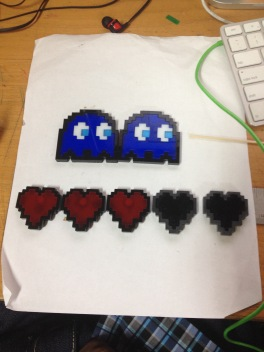 Pac-man Ghosts and 8-Bit heart magnets